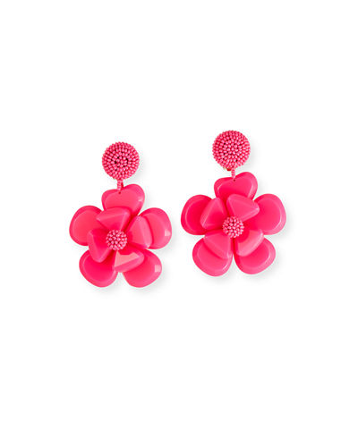 Plastic Flower Clip-On Earrings