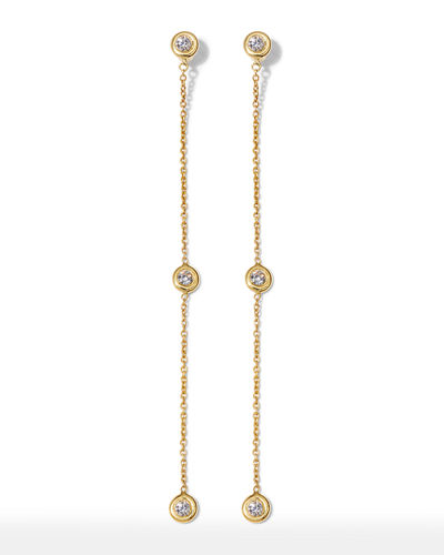 18k Diamond-Bezel & Chain Dangle Earrings