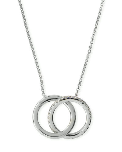 18k Two-Tone Diamond Double-Circle Pendant Necklace