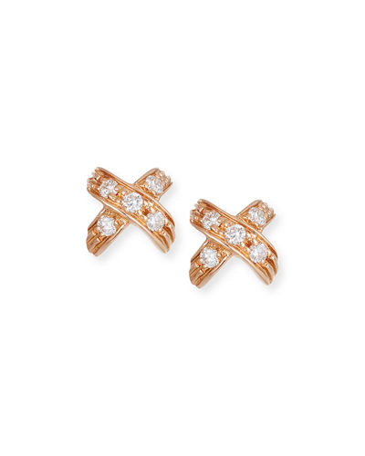 18k Diamond Pave X-Stud Earrings