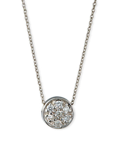 18k Diamond Pave Circle Pendant Necklace