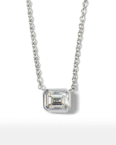 18k Emerald-Cut Diamond Pendant Necklace