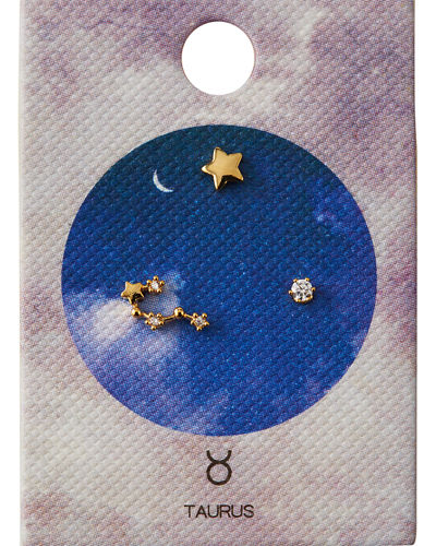 Zodiac Constellation Stud Earrings w/ Cubic Zirconia