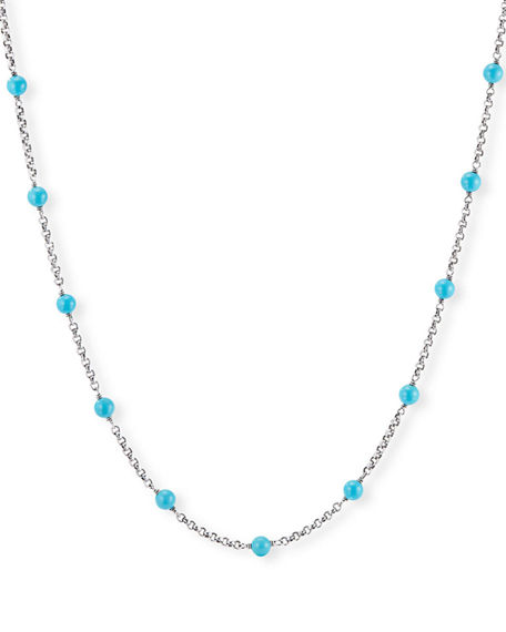 David Yurman Cable Collectibles Pearl/Turquoise & Chain Necklace