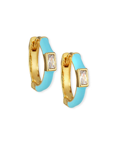 Enamel & Baguette Huggie Hoop Earrings