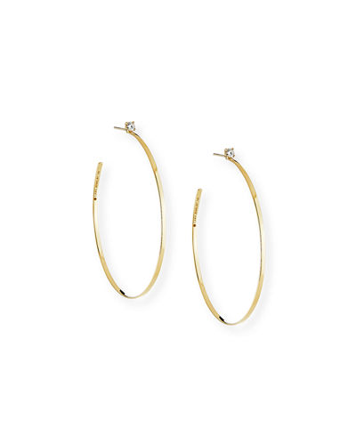 14k Diamond Sunrise Hoop Earrings