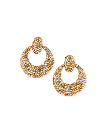Oscar de la Renta Crystal Pave Door-Knocker Clip Earrings
