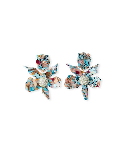 Lily Stud Earrings w/ Crystals