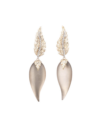 Feather Post Drop Earrings