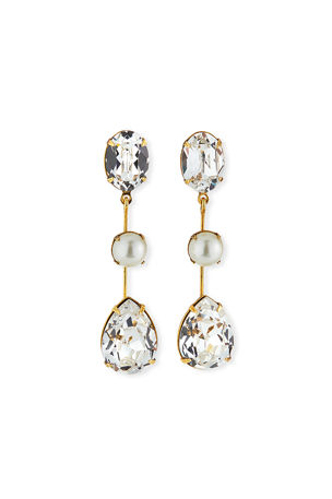 Jennifer Behr Allanah Crystal & Pearly Drop Earrings