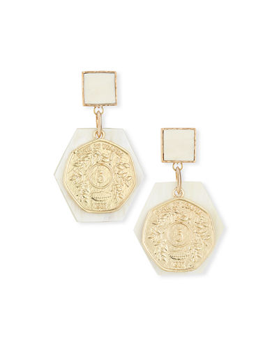 Horn & Coin Statement Earrings