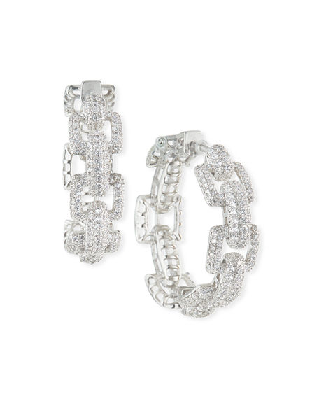 Image 1 of 2: Fallon Square-Link Pave Hoop Earrings