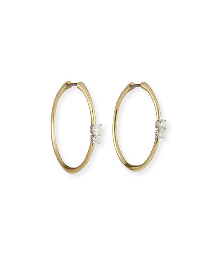 Roberto Coin 18k Double-Diamond Hoop Earrings