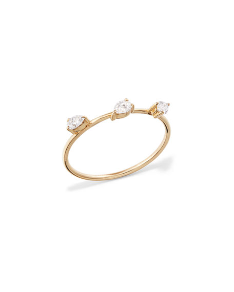 Lana 14k Solo Diamond Pear Wire Ring, Size 7