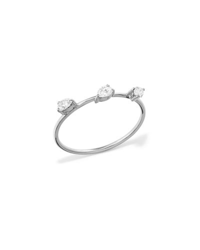 14k Solo Diamond Pear Wire Ring, Size 7