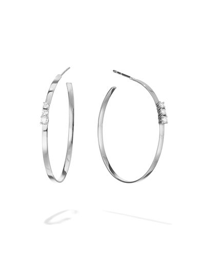 14k Flat Multi Solo Diamond Hoop Earrings