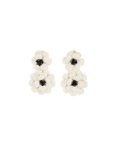 Oscar de la Renta Embellished Gardenia Clip Earrings