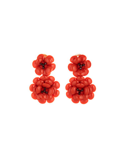 Embellished Gardenia Clip Earrings