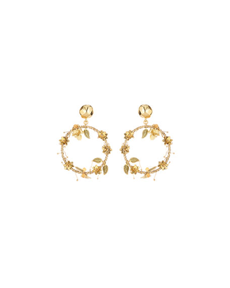 Oscar de la Renta Embroidered Flower & Leaf Hoop-Drop Earrings