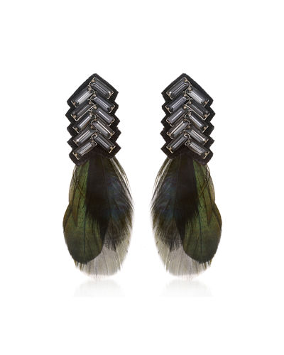 Suzanna Dai Bengal Chevron Feather Button Earrings
