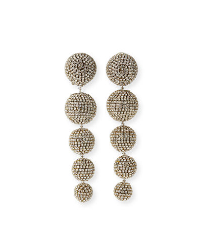 Maura Crystal Ball-Drop Clip Earrings