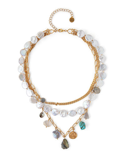 Chan Luu 3-Row Stone & Pearl Necklace