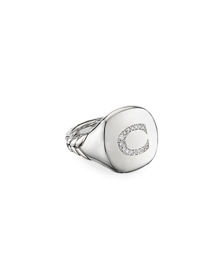 David Yurman DY Initial Pinky Ring in Sterling Silver with Diamonds, Size 2.5-5