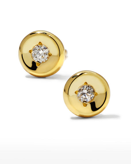 Roberto Coin 18k White Gold Diamond Round Stud Earrings