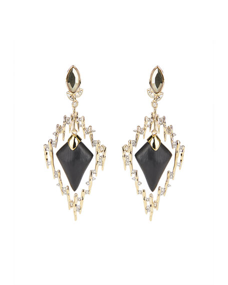 Image 1 of 3: Alexis Bittar Navette Crystal Spiked Framed Clip Earrings