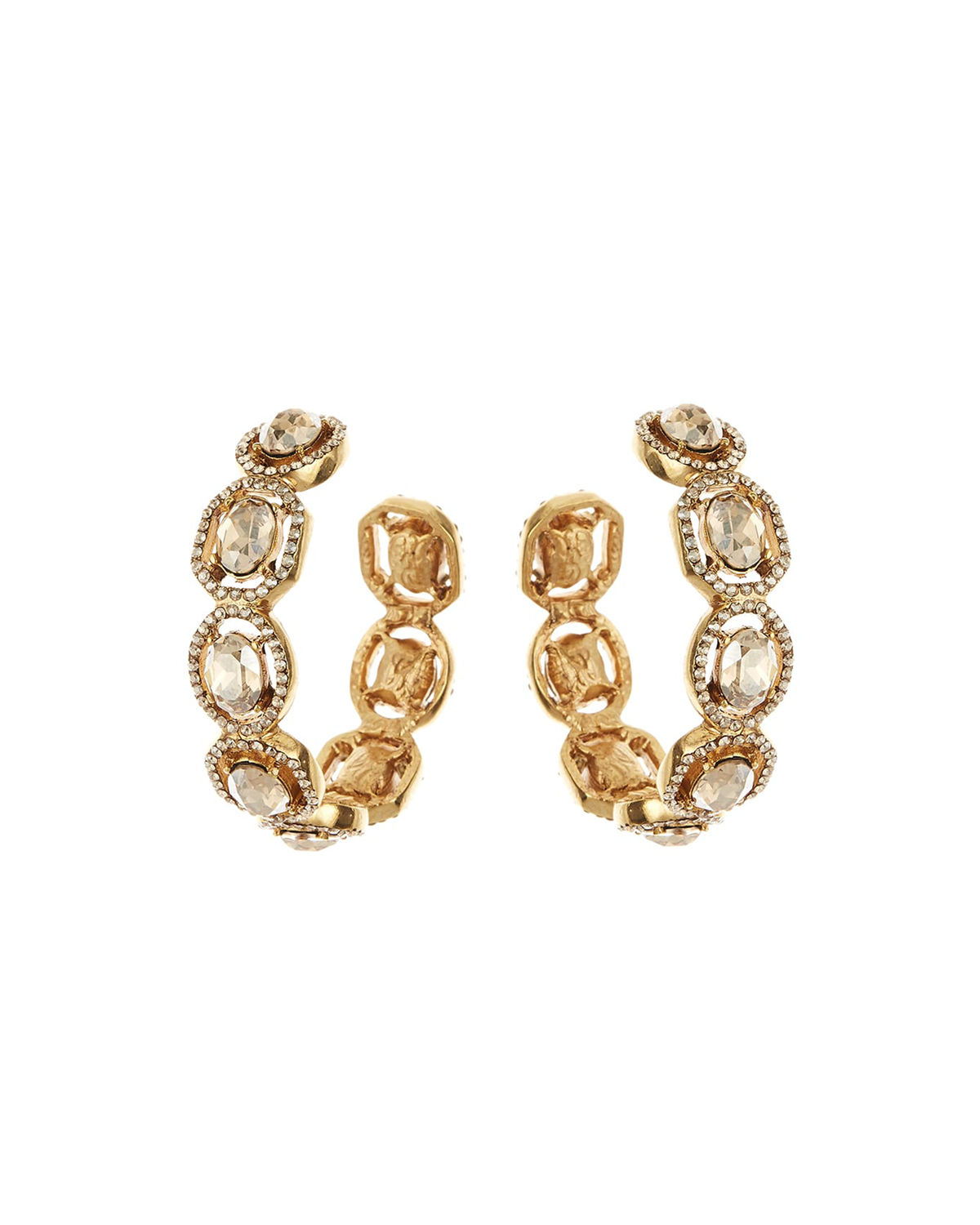 Oscar De La Renta Accessories JEWELED HOOP EARRINGS