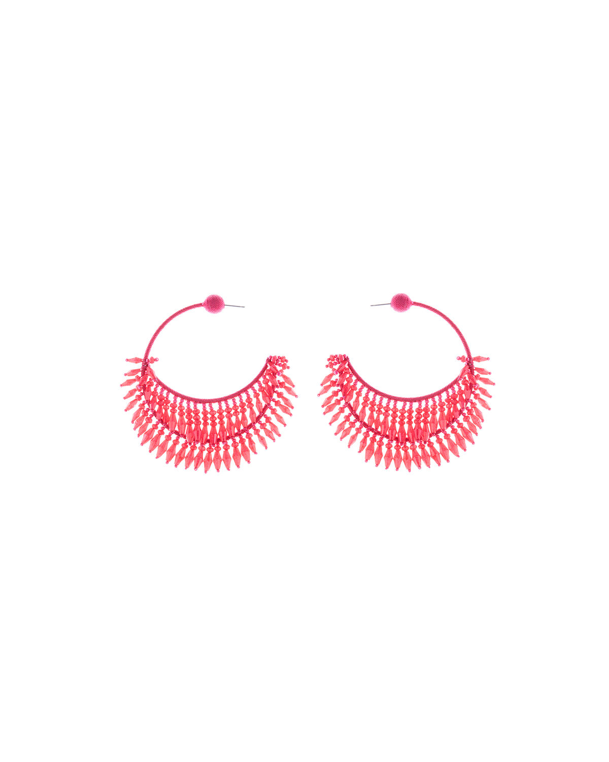 Oscar De La Renta Accessories BEADED HALF-HOOP EARRINGS