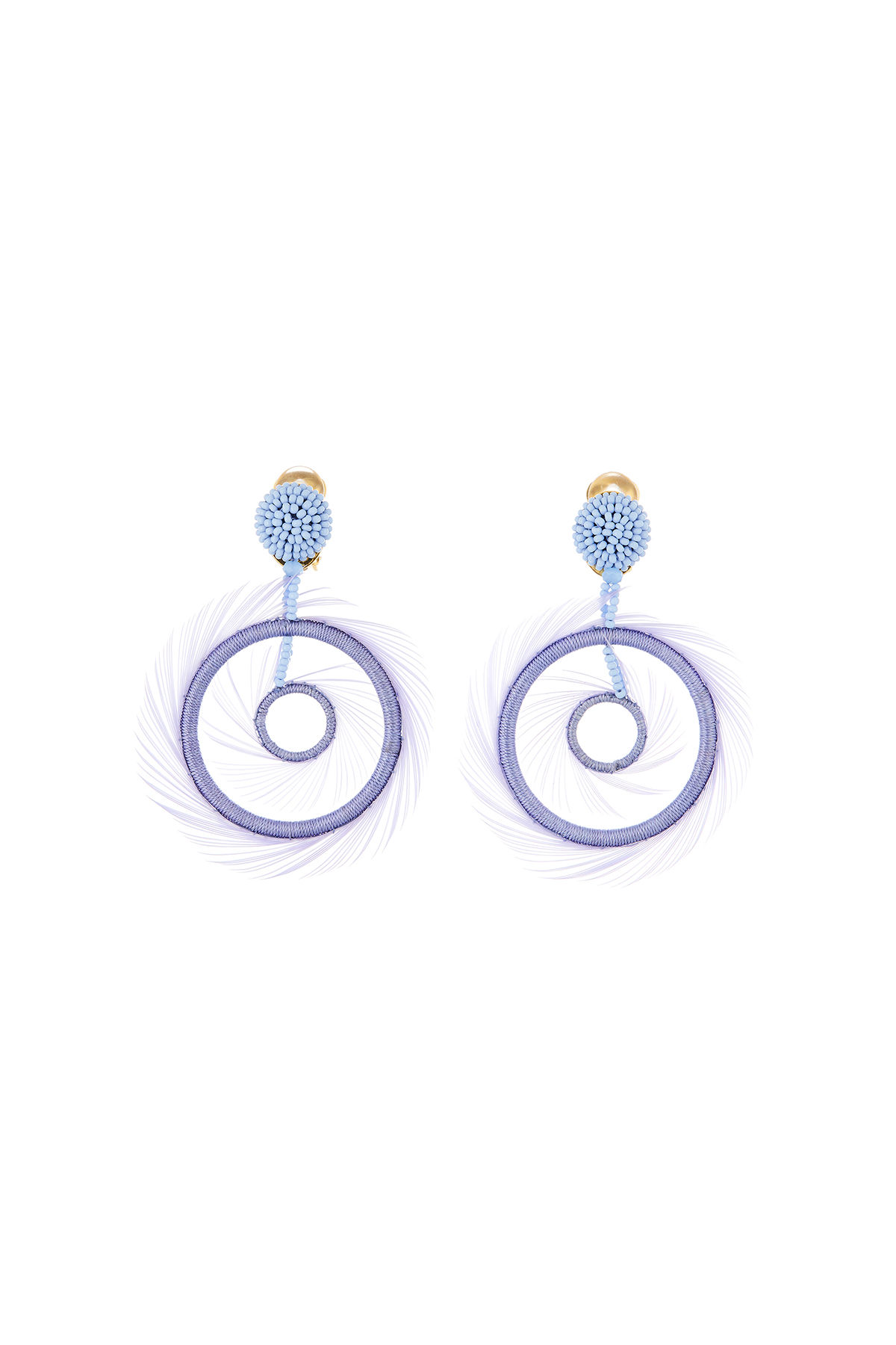 Oscar De La Renta Accessories FEATHER HOOP-DROP EARRINGS