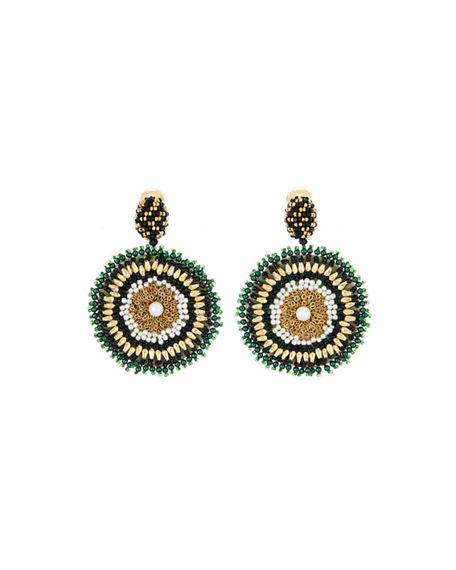Oscar de la Renta Mixed-Bead Circular Clip Earrings