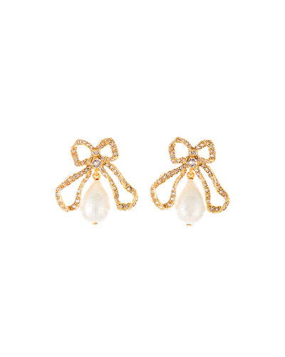 Oscar de la Renta Pearly Bow Drop Earrings