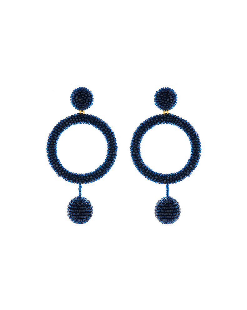 Oscar de la Renta Beaded Hoop-Drop Dangle Earrings