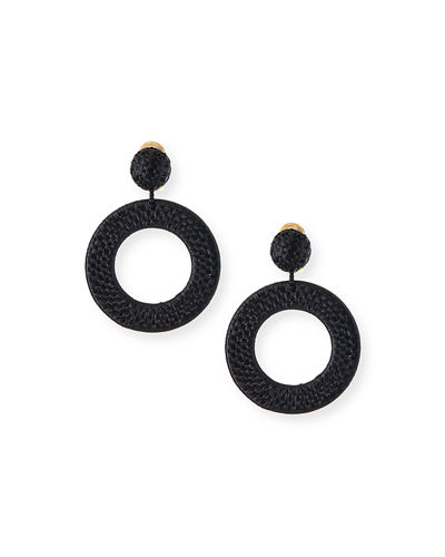 Raffia Hoop-Drop Clip Earrings