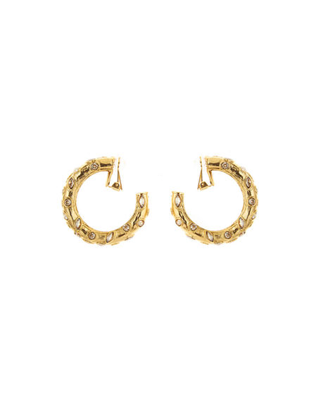 Oscar de la Renta Large Crystal Hoop Earrings