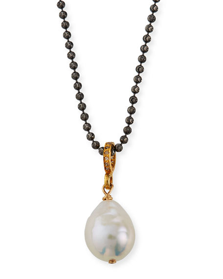 "Margo Morrison Baroque Pearl Diamond-Ring Necklace, 16""L"