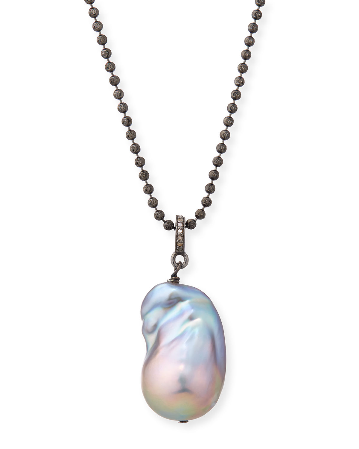 Baroque Pearl Diamond-Ring Necklace