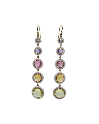 Ippolita Lollipop Carnevale 5-Drop Earrings in 18K Gold with Multi Stones and Ceramics