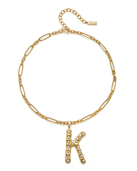 Sequin Simulated Pearl Initial Necklace