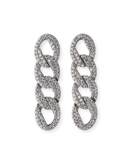 FALLON Pave Curb-Chain Earrings