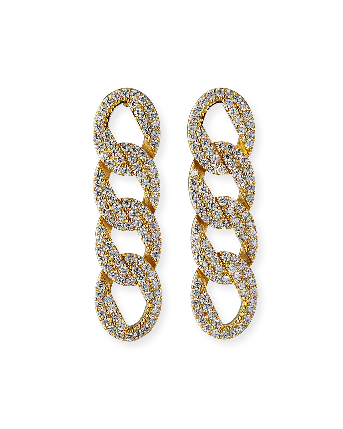 Pave Curb-Chain Earrings