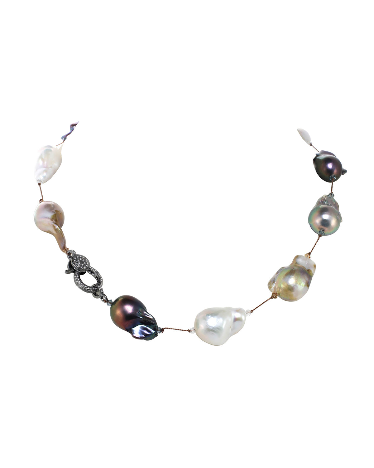 Large White Baroque Pearl Necklace with Swarovski Crystal and a Diamond Clasp