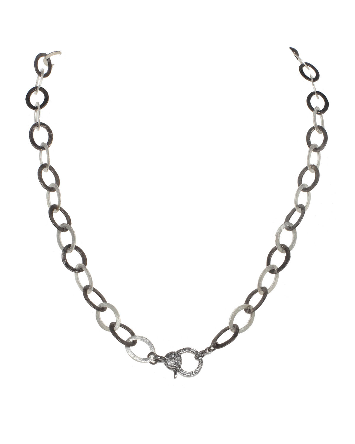 Matte Vermeil and Sterling Silver Flat Chain Necklace with Diamond Clasp