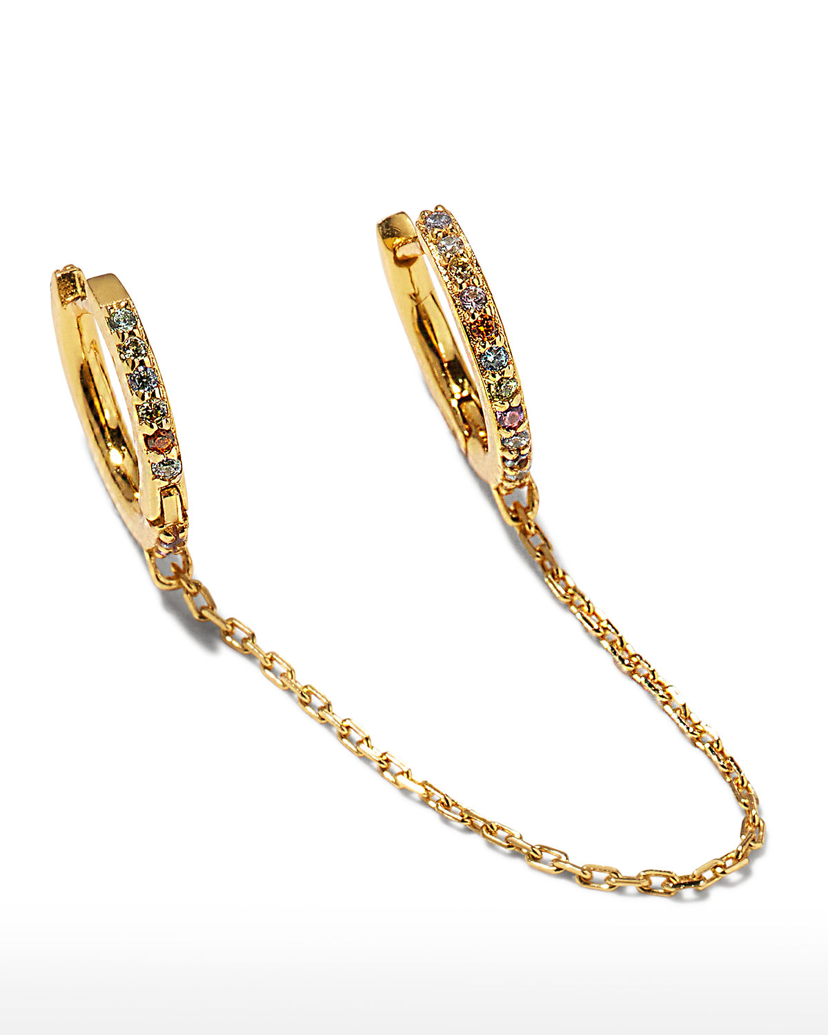 Chained 18k Gold Vermeil Double Huggie Earring
