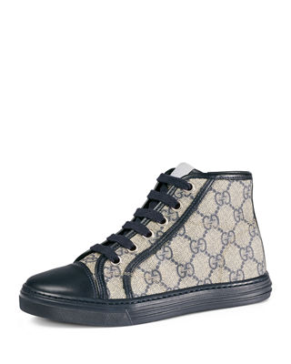 Image 1 of 4: GG Supreme Canvas High-Top Sneaker, Toddler/Youth Sizes 10.5T- 2Y
