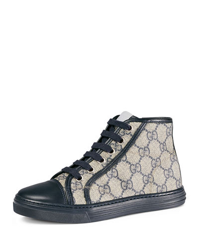 Gucci GG Supreme Canvas High-Top Sneaker, Kids' Sizes