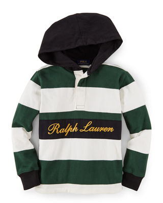 Ralph Lauren Striped Hooded Lightweight Sweatshirt, Size 2-7