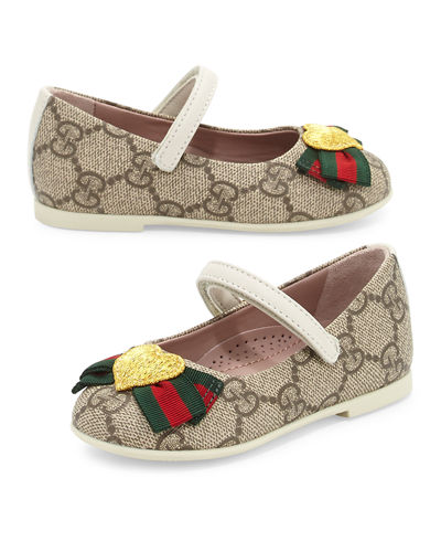 Gucci GG Supreme Heart Mary Jane Flat, Toddler